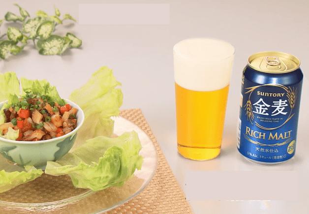 【「金麦」幸せレシピでカンパイ!】新鮮レタスの食感も愉しめる「いかと野菜のピリ辛炒め レタス包み」