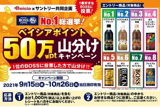 【BOSS No.1総選挙!】1番好きな「ボス」を選んで「ベイシアポイント50万pt山分けキャンペーン」に参加しよう♪