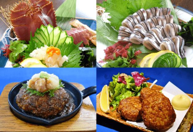 うちわエビのお造りやきびなごの刺身、長崎和牛ハンバーグにすり身揚げとどれも人気
