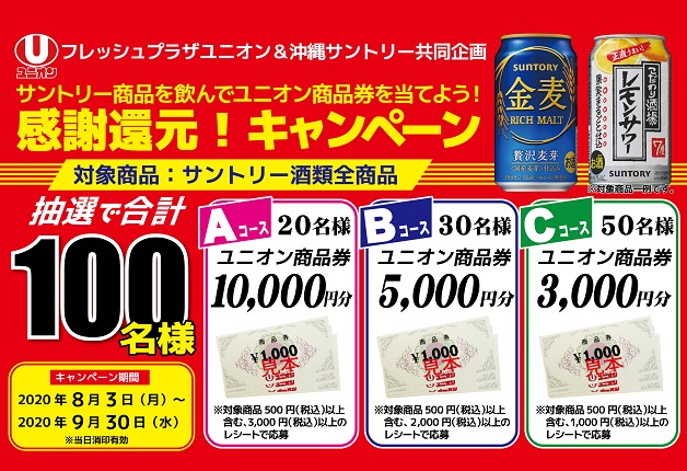 (終了しました)【フレッシュプラザユニオン&沖縄サントリー 】サントリー商品を飲んでユニオン商品券を当てよう!「感謝還元!キャンペーン」