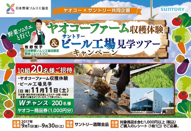 (終了しました)【ヤオコー×サントリー】野菜ソムリエと行く「ヤオコーファーム」収穫体験&ビール工場見学ツアーが当たる♪