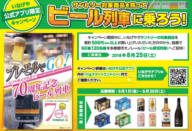 いなげや公式アプリ限定キャンペーン♪サントリー商品を買って多摩都市モノレール「ビール列車」に乗ろう!