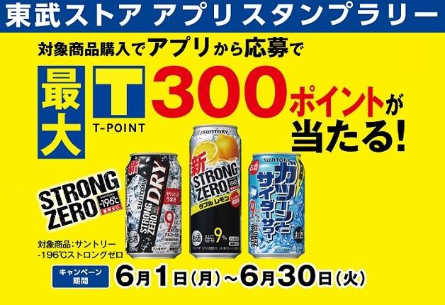 (終了しました)【東武ストア×サントリー】「-196℃ ストロングゼロ」を買ってTポイントを当てよう!「東武ストア アプリスタンプラリー」