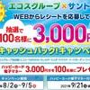 【エコスグループ×サントリー】新ハッピーカード会員になってお得に買い物しよう!「WEBからレシートを応募して抽選で100名様に3,000円分キャッシュバック!キャンペーン」