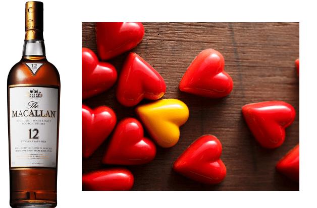 マッカラン12年のボトルとハート型のサンニコラのフランボワーズチョコレート