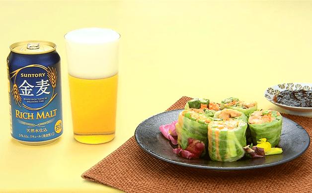 【「金麦」と合う簡単レシピ】たっぷりの野菜とホルモンで栄養もお腹も大満足!「ホルモンロールレタス」