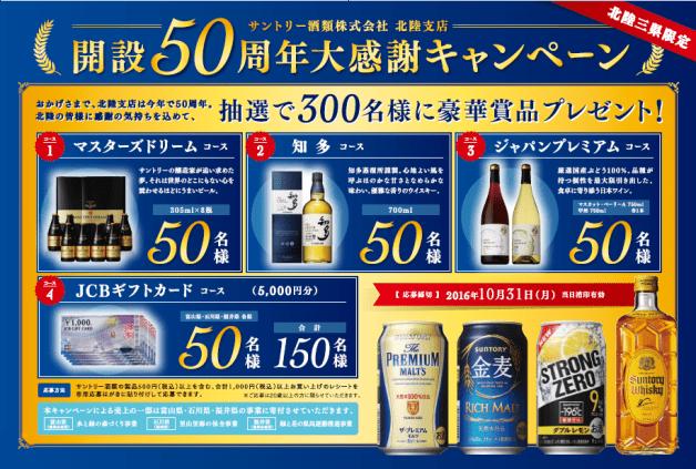 (終了しました)【北陸3県限定】サントリー酒類・北陸支店 50周年御礼!対象商品を買うと300名様にウイスキー「知多」など当たる