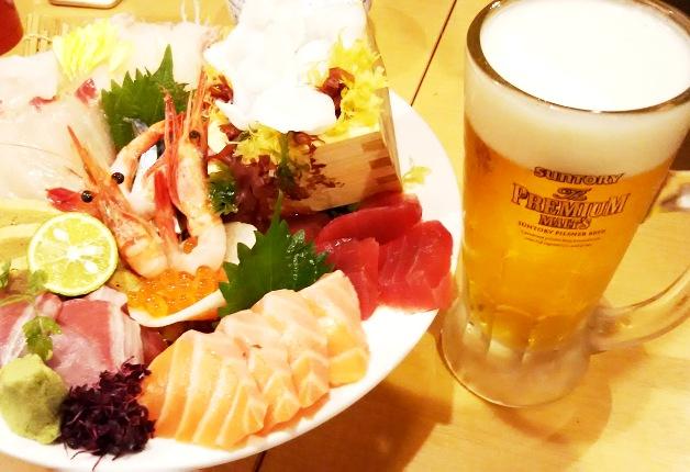 玉宮で海鮮を堪能するなら「魚河岸酒場 魚楽」!「プレモル」で乾杯しませんか♪
