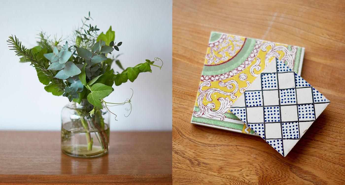 「季節を連想させる「植物」と「柄小物」をプラス」のイメージ