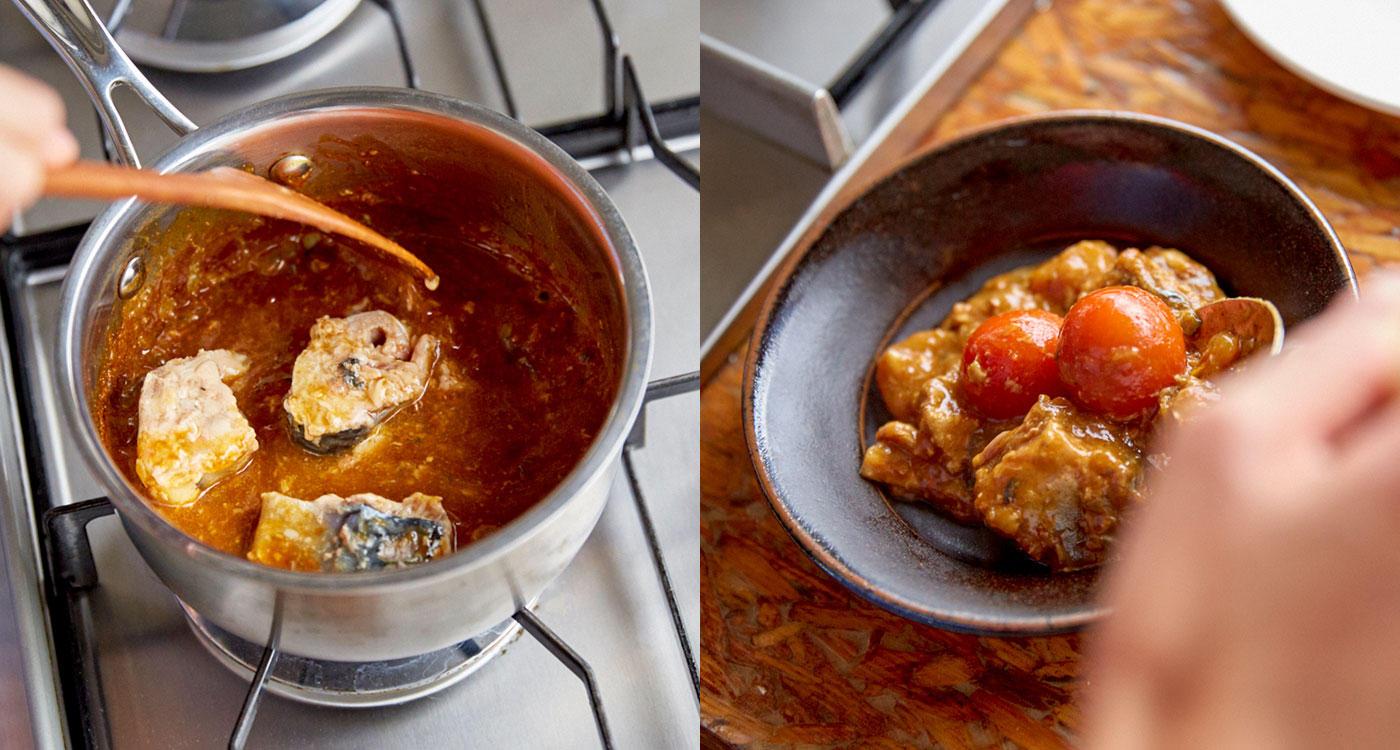 「サバ缶で鍋底のカレーを余さず使い切る」のイメージ