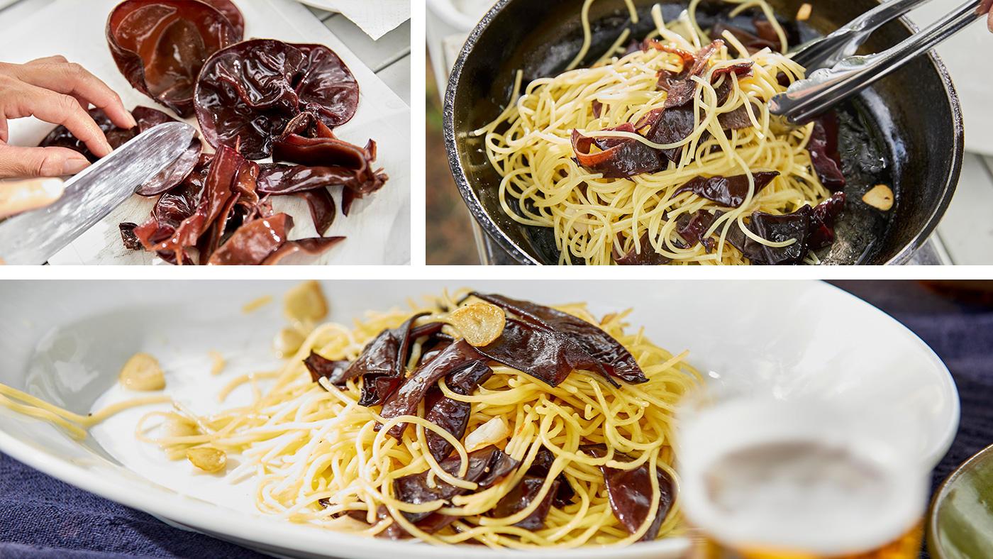 「プリっとした食感を楽しむ「生きくらげのペペロンチーノ」」のイメージ