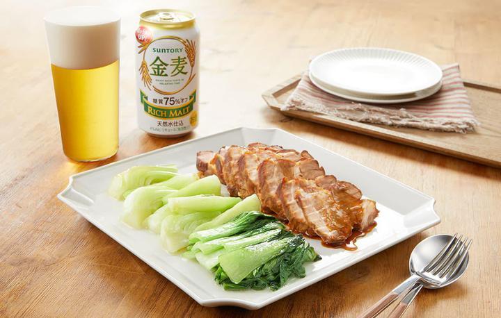 青梗菜のオイル蒸し 煮豚添え