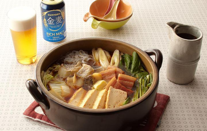 鱈とベーコンと白滝の醤油バター鍋