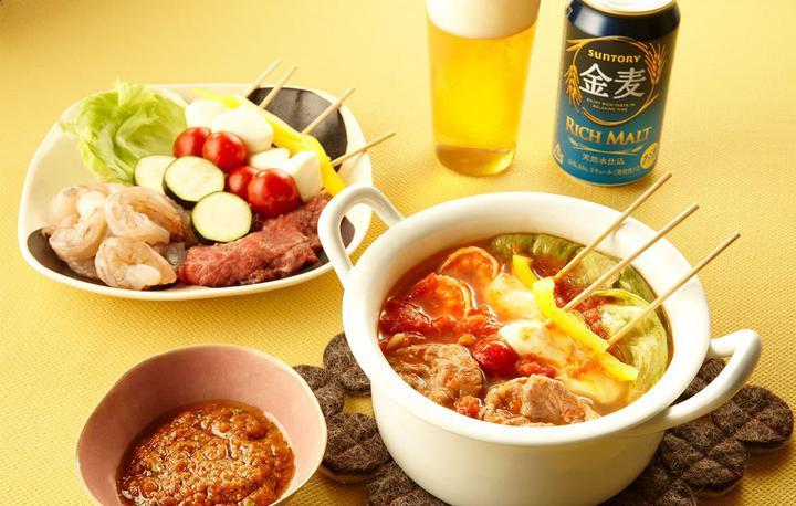 トマトと海老のしゃぶしゃぶおつまみ鍋