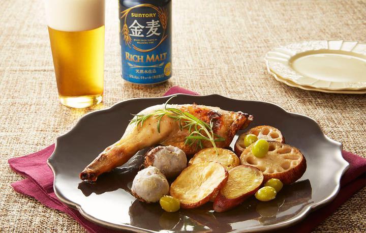 鶏もも肉と根菜のオーブン焼きローズマリー風味
