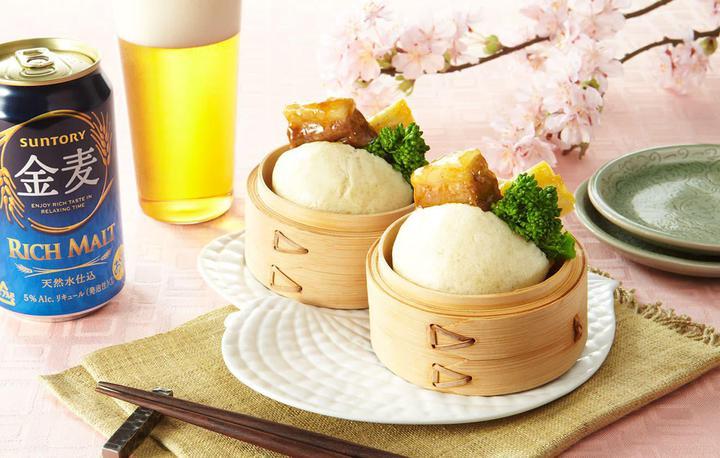 オレンジ角煮と菜の花の饅頭サンド