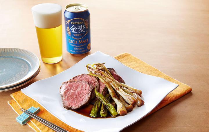 焼きエシャレットと牛肉のバルサミコ醤油マリネ