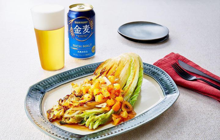 焼き白菜と金柑のソース