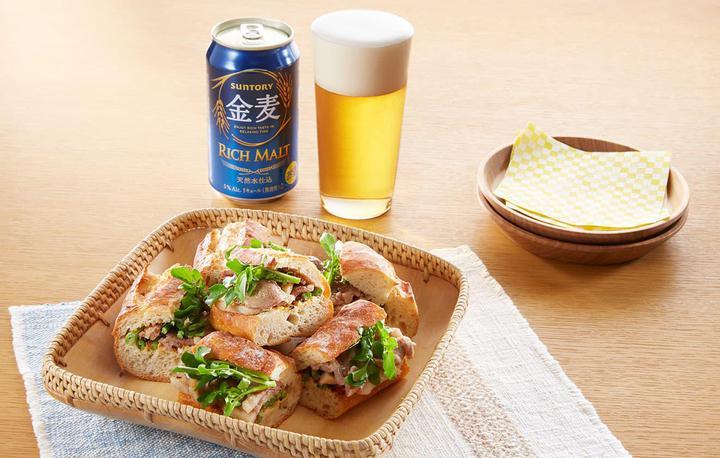 クレソンと生姜焼きの和風サンドイッチ