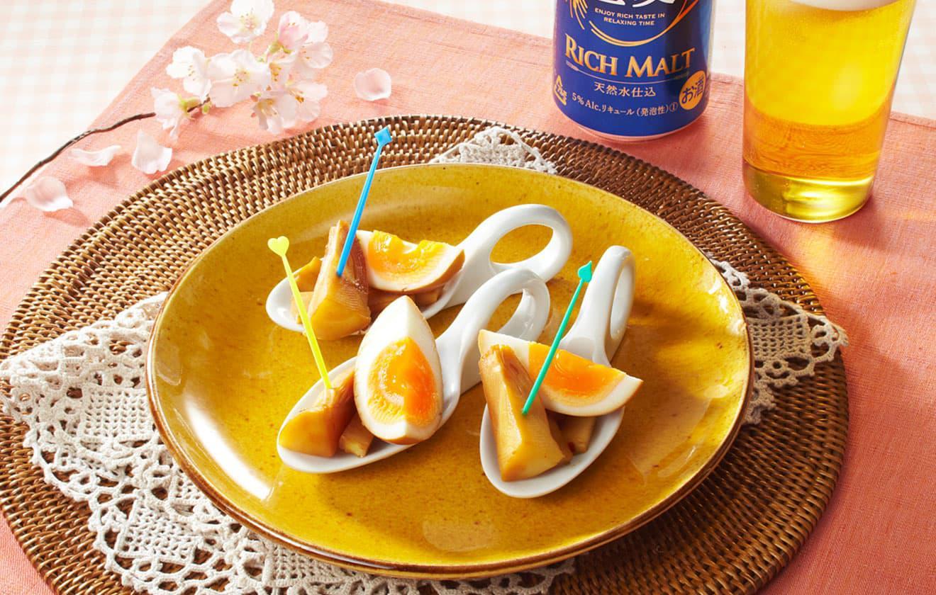 筍と煮玉子のピリ辛つまみ の写真