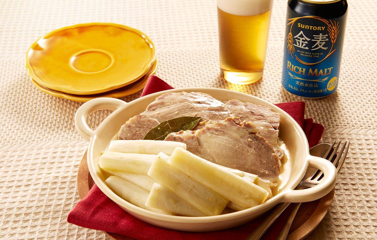 長葱と塩漬け豚の蒸し煮 マスタードソースの写真