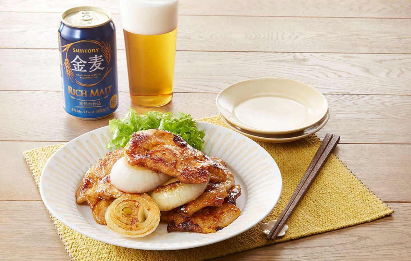新玉葱と豚肉の生姜焼き オイスター風味 の写真