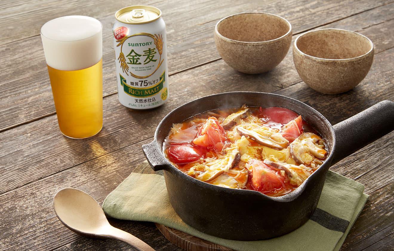 きのこと卵の酸辣スープ鍋の写真