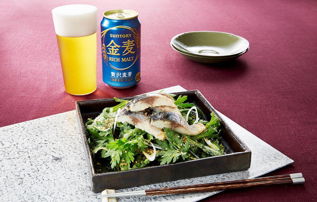 春菊と焼き〆鯖のサラダの写真