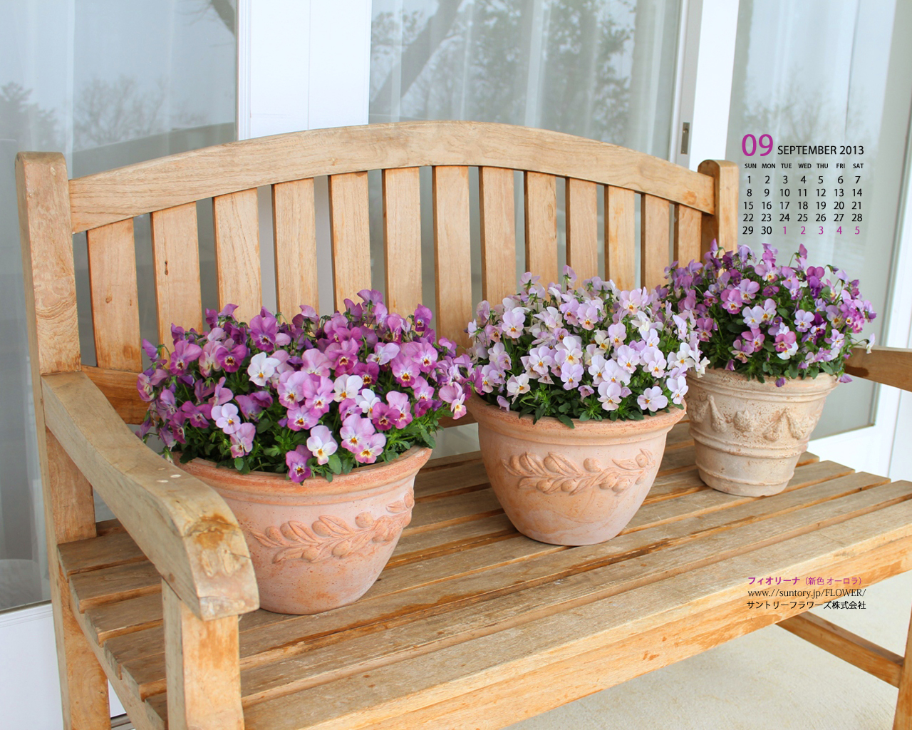 壁紙カレンダー9月 デジタルおまけ 花のある暮らし ガーデニング 園芸